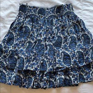 Derek Lam 10 Crosby Tiered Silk Paisley Mini Skirt